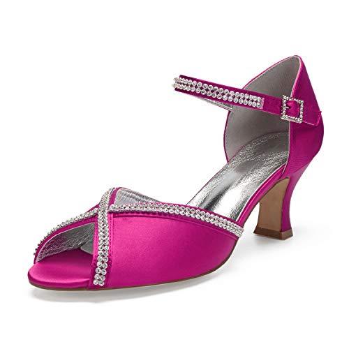 MarHermoso elegante Damenschuhe mit Kätzchenabsatz, Brautschmuck, Pink - fuchsia - Größe: 39 EU