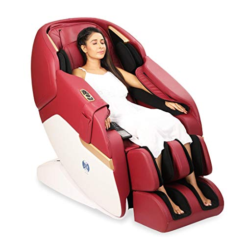 JSB MZ08 Full Body Massage Chair for Home and Office (Luxury 3D Space Saving Design) (Red-White)