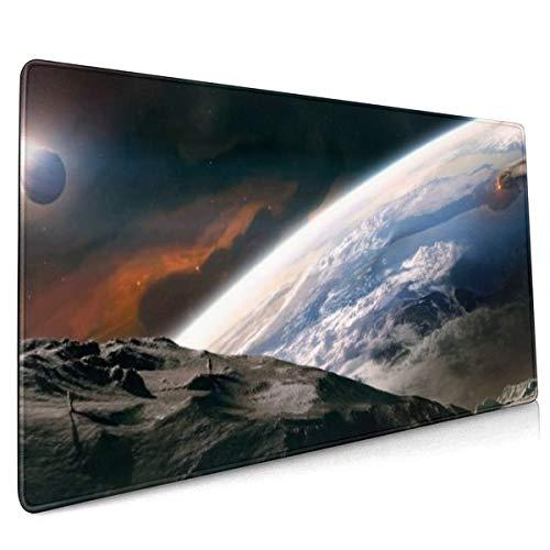 Buitenruimte Maan Aarde rust Dual Monitor Mouse Pad Niet Slip Rubber Grote Gaming Keyboard Mat 15.8x35.5 In