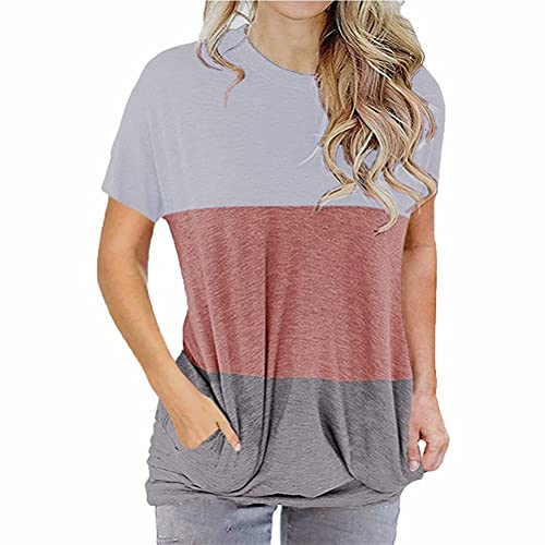 ZFQQ Camiseta de Manga Corta con Bolsillo de murciélago Suelto con Cuello Redondo y Manga Corta para Mujer