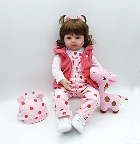 iCradle 24 Pulgadas 61cm Reborn Baby Doll Niña Realista Muñeca de Silicona Bebe Reborn Toddler Vinilo Juguete Regalo (18