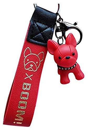 ERTYW Llaveros de moda francés punk bulldog llavero de cuero PU perro...