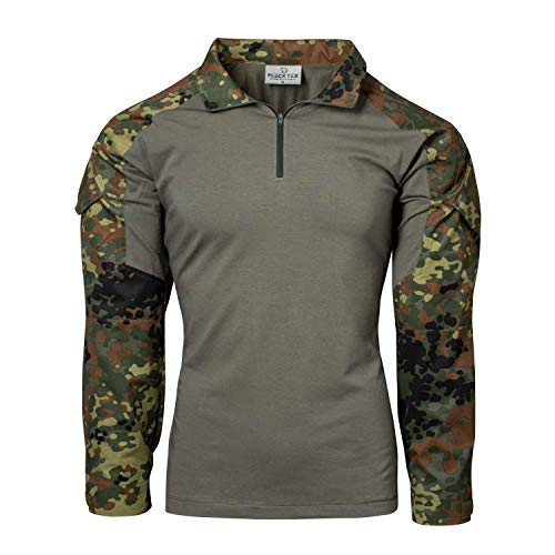 FLECKTEX® Combat Shirt Tropentarn 5FTD Flecktarn Schwarz Tactical Shirt Outdoor Kampfbluse Herren Langarm (5FTD Flecktarn, L)