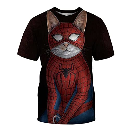 XDJSD Camiseta para Hombre Camiseta Corta De Manga Corta Camiseta De Gran Tamaño Camiseta con Cuello Redondo Camiseta para Hombre Camiseta Deportiva Camiseta con Estampado De Gato Camiseta