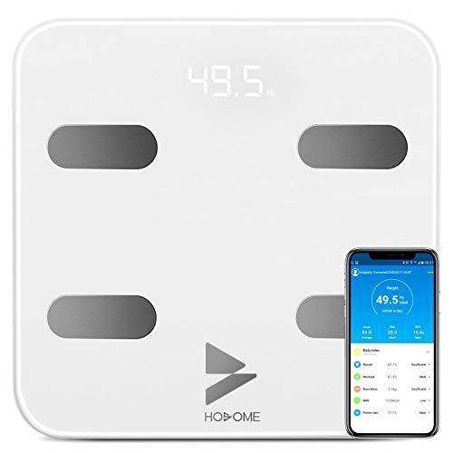 Bascula de Baño Hosome Yuanguo Bascula Grasa Corporal Digital Vasculas de Peso Baño para IOS y Android, 180 kg / 396 lb, hasta 17 Análisis de Composición Corporal incluso Peso Corporal, BMI, BMR