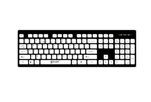 ZAZZ USB Wired Chocolate/Chiclet/Island Keyboard Washable Spill Proof Durable Light Weight ABS Plastic 104 White Island Keys