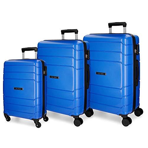 Roll Road Fast Juego de maletas Azul 55/68/80 cms Rígida Polipropileno Cierre combinación 209L 4 Ruedas Equipaje de Mano