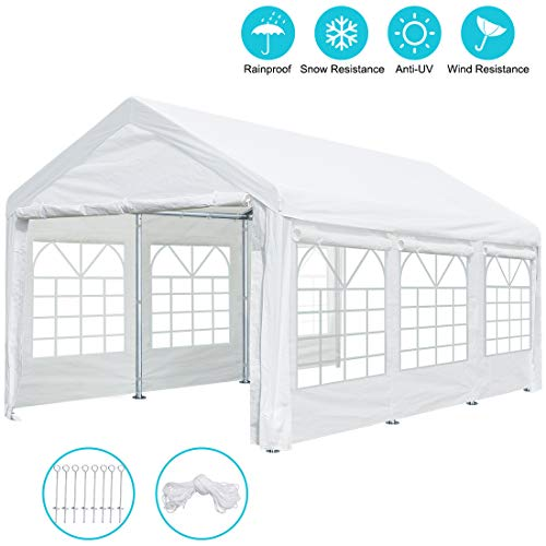10 x 20 ft Heavy Duty Carport Canopy Car Garage Shelter Party Wedding Tent with Removable Window Sidewalls and Doors, 9.5 ft Peak Height and 6.5 ft Side height