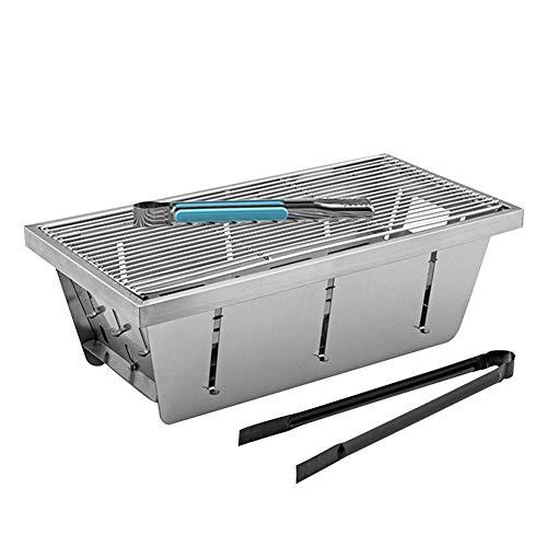 Terynbat Portable 304 acero inoxidable carbón parrilla plegable pequeña mesa de escritorio para barbacoa al aire libre camping senderismo paquete mochila fiesta