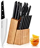 Knife Set with Block, Cookit 15 Pieces Kitchen Knife Set with Pine Block Holder, Knife Block Set with Sharpener, High Stainless Steel Knives with Comfortable-grip ABS Handle