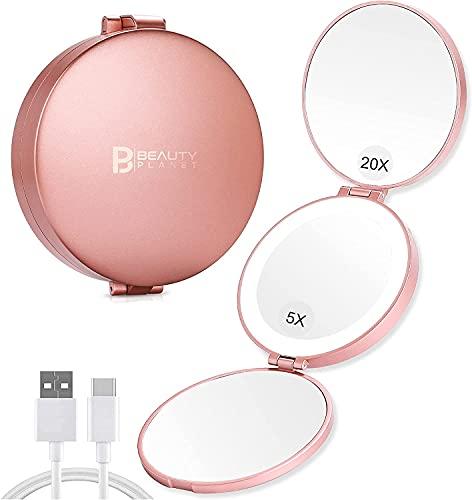 Miroir grossissant lumineux,Miroir grossissant de voyage pliant X20/X5/X1,Miroir de poche rechargeable et pliable,multifonctions pour tous vos besoins,10cm Rose
