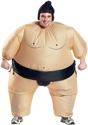 Playtastic aufgeblasene Kostüme: Selbstaufblasendes Kostüm Sumo-Ringer (Kostüm-Sets)