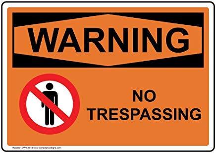 Wendana Waarschuwing Geen Trespassing Osha Veiligheidsbord, Aluminium, Metalen waarschuwingsborden, Privébord, Kennisbord, 8
