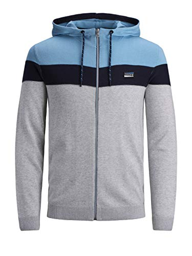 JACK & JONES Herren JCOPANEL Knit Hood Cadigan Strickjacke, Dusk Blue, XL