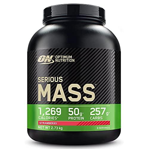 Optimum Nutrition ON Serious Mass Hochkalorisches Weight Gainer Protein Pulver mit Kohlenhydrate, Whey Protein, Vitaminen, Kreatin und Glutamin, Strawberry, 8 Portionen, 2,73kg