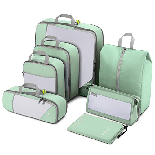 Gonex 7pcs Travel Packing Set, Compression Packing Cubes, Extensible Storage Mesh Bag Organizers, Compression Packing Cubes with Laundry Bag Shoes Bag Toiletry Bag for Travel, Home, 7PCs Grey Green