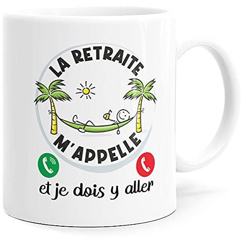 Taza humorística de jubilación, diseño con texto en inglés 'Dino Mugs le Sourire desde el despierto'.