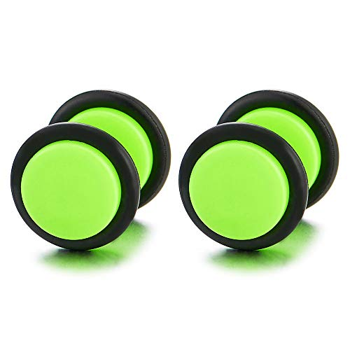10MM Verde Fluorescente Círculo Pendientes de Hombre Mujer, Acero Enchufe Falso Fake Cheater Plugs Gauges, 2 Piezas