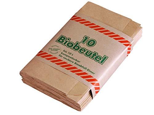 300 Bio Papiermüllbeutel Abfallbeutel Müllbeutel Kompostbeutel Mülltüten aus Papier kompostierbar ca. 20x15x35cm 10L braun 30x10 Stück