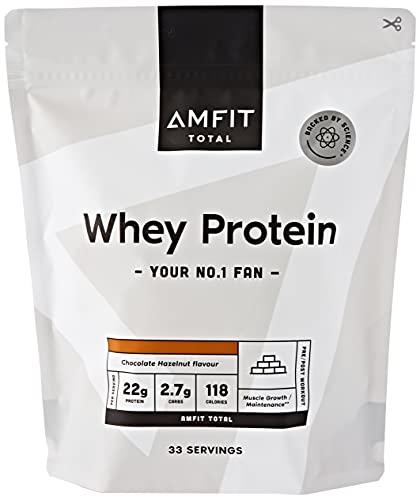 Amazon-Marke: Amfit Nutrition Molkeproteinpulver 1kg - Schokolade-Haselnuss (ehemals PBN)