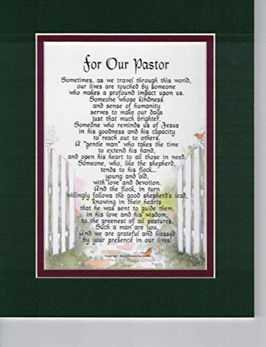 Pastor Poem Print Thank You Appreciation Gift Present Double Matted in Green Over Burgundy