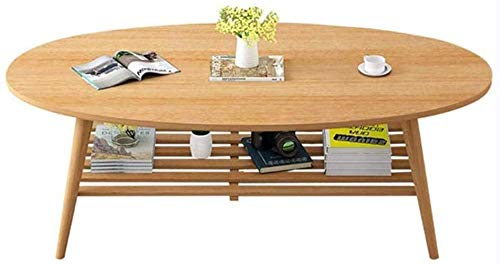 Outdoor Oval 2-Tier Coffee Table Nordic Solid Wood Living Room Telephone Creative And Versatile Fashion Side Table White 100x50x43cm