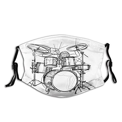 HUIDE música rock, Doodle Drawing Sketch Style batería inspiraciones musicales monocromáticas, blanco negro polvo reutilizable filtro Cotton Face