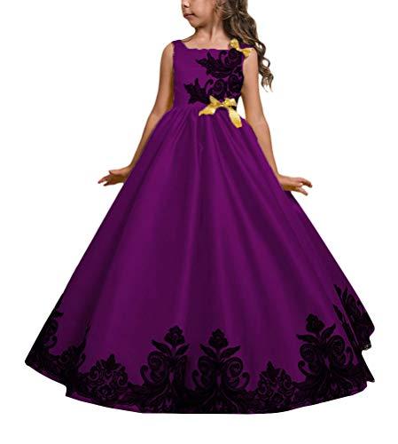 Minetom Enfant Fille Robe Tutu Dentelle Broderie sans Manches Princesse Soirée Cérémonie Mariage Carnaval Robe 3-14 Ans Violet 120