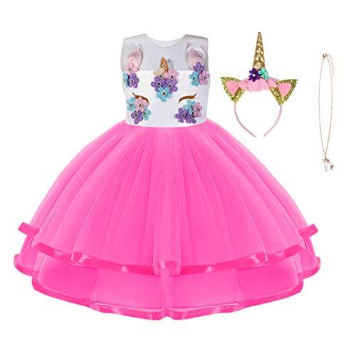 URAQT Disfraz de Unicornio, Vestido de Princesa Unicornio para Nias, Vestido Elegante con Collar/Diadema para Cumpleaos/Cosplay/Boda, Edad 2-10 Aos (Rosa Roja, 4-5 aos)