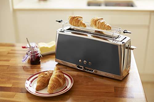 Russell Hobbs 23251-56 Toaster Grille-Pain Luna, Spécial Baguette, Cuisson Rapide, Chauffe Viennoiserie - Gris