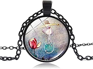 Gzgx New Accessories Thumbelina Fairy Tale Time Jewel Necklace Glass Necklace Pendant Small Gift(Sl9204 Black)