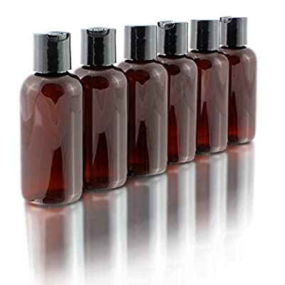 4oz Empty Amber Brown Plastic Squeeze Bottles with Disc Top Flip Cap (6 pack); BPA-Free Plastic Containers For Shampoo, Lotions, Liquid Body Soap, Creams (4 ounce, Amber Brown)