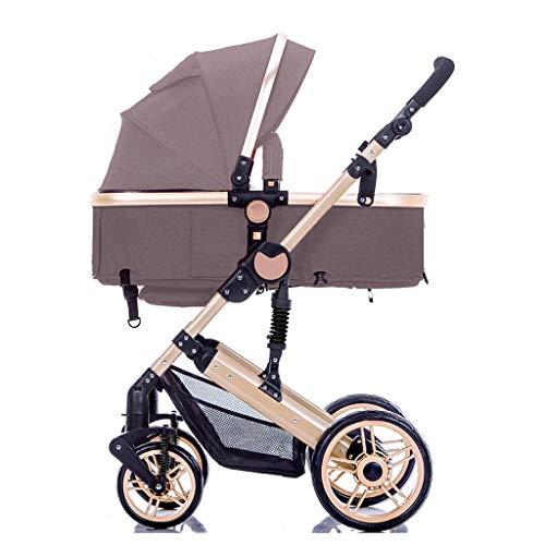 Jixi Cochecito Ligero con asa Redes de Cochecito de bebé con portavasos Asiento inclinable de Varias Posiciones, Cochecito Plegable con una Mano (Color : D)