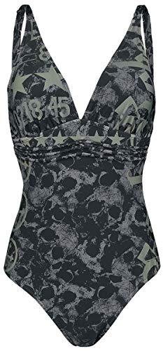 Rock Rebel by EMP Schwarzer Badeanzug mit Skull-Muster und Prints Frauen Badeanzug schwarz L