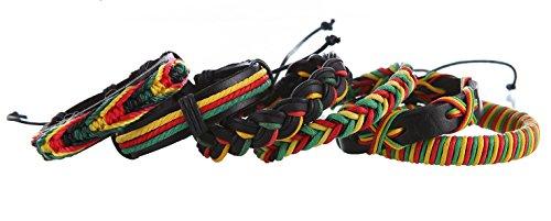 DonDon® 6 Rastafari Armbänder aus Leder und Stoff
