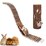 XIAO MO GU Hamster Suspension Bridge Toy,Natural Wooden Hamster Mouse Tunnel Tube Toy for Dwarf Syrian Hamster Mice Mouse Gerbils and Other Small Animals