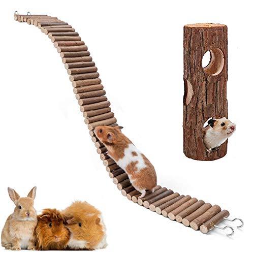XIAO MO GU Juguete de puente de suspensión para hámster, de madera natural, para hámster, ratón, ratón, hámster sirio, ratones, gerbos y otros animales pequeños