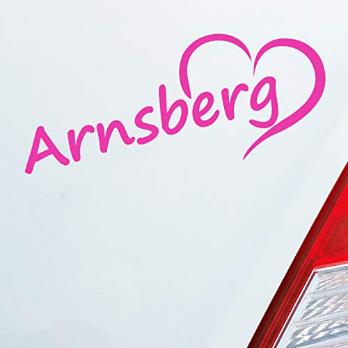 Auto Aufkleber in deiner Wunschfarbe Arnsberg HSK Sauerland Herz Stadt City 20x8 cm Autoaufkleber Sticker