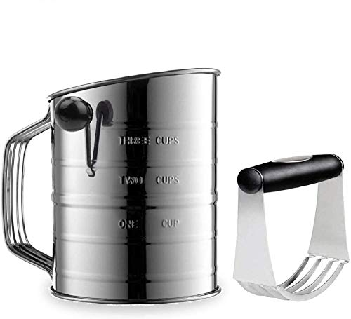 Sifter for Baking Stainless Steel 3 Cup Flour Sifter with 4 Wire Agitator Rotary Hand Crank Sifter -Dough Blender Included