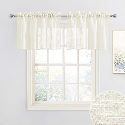RYB HOME Semi Sheer Valances - Linen Textured Sheer Curtains Small Window Tiers Farmhouse Decor for Kitchen Bathroom Cafe Bedroom, Natural, Wide 52 x Long 18 inch, 2 Panels
