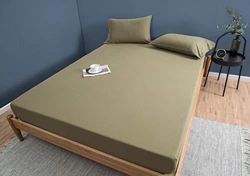 LCFCYY Sábana Bajera Deluxe,Sábanas de algodón de Color sólido Suave,Antideslizantes para dormitorios de Adultos,Protector de colchón Desnudo para Dormir Gray 120 * 200cm