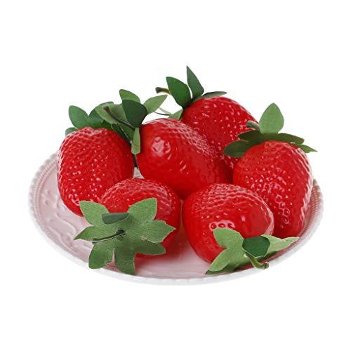 KunmniZ Künstliche Erdbeere, realistisch, für Zuhause, Party, Festival, Dekoration, zufälliger Stil, Multi, 5 Stück