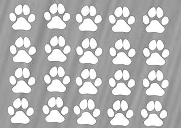 Generic Hundepfoten Aufkleber 24 Stück Pfoten 3x3cm Pro Pfote 12 3 Weiß Glanz Garten