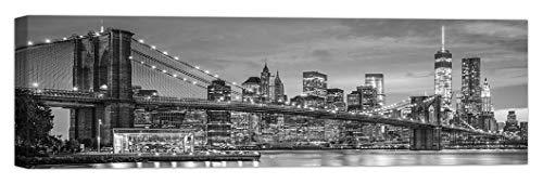 LuxHomeDecor - Cuadro New York Brooklyn Panorama, 100 x 30 cm, impresión sobre Lienzo con Marco de Madera, decoración Arte Moderno