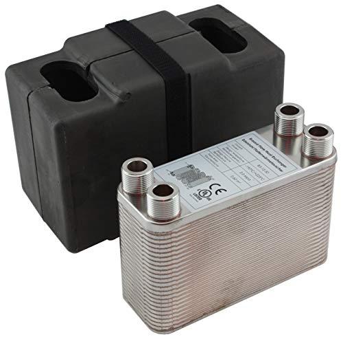 Edelstahl Plattenwärmetauscher + Isolation B3-12-50 mit 4x3/4 Zoll Anschl. 90kW Heizung Solar (PWT+Iso)