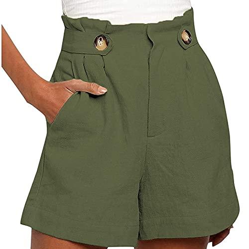OVERMAL Pantaloncini Bermuda Donna Casual Elasticizzati a Vita Alta Pantaloni Corti Elegante Larghi Shorts Estivi con Tasca