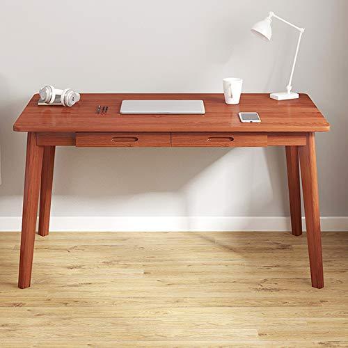 Desk Escritorio de Madera Maciza para Ordenador portátil, Escritorio Moderno para Oficina en casa con 2 cajones, Escritorio Simple para Oficina en casa, Escritorio para Dormitorio
