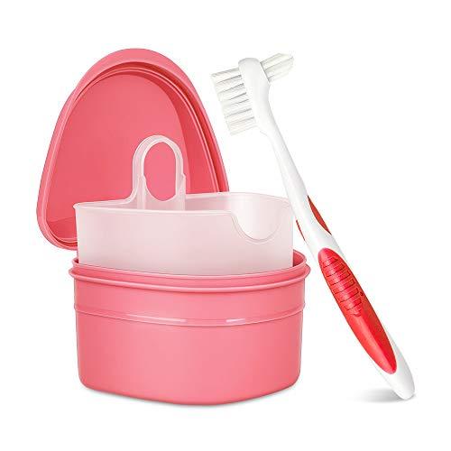 Y-Kelin Kit de limpieza de dentaduras postizas con cepillo de dientes postizos de dos cabezas (Rosado)