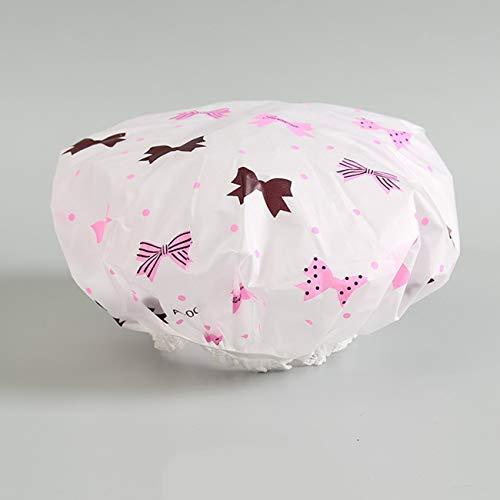1 PC imperméable bonnet de douche épaissir belle chapeau de bain couleur unie bonnet élastique pour le bain accessoires de bain pour femmes arc - noeuds papillon