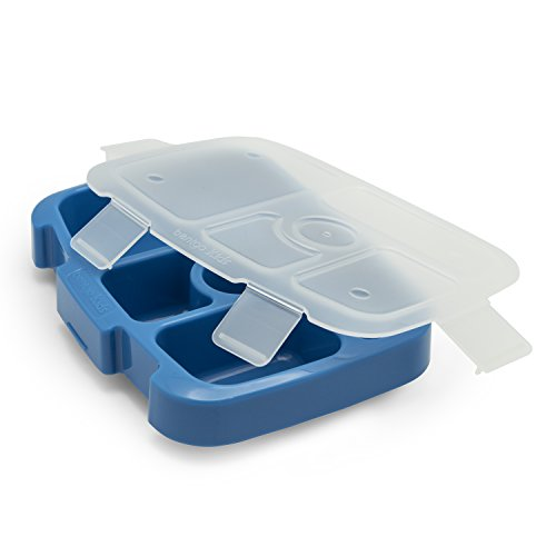 Bentgo Kids Tray (Blue) with Transparent Cover for At-Home Meals, Lunch Meal Prep, and More